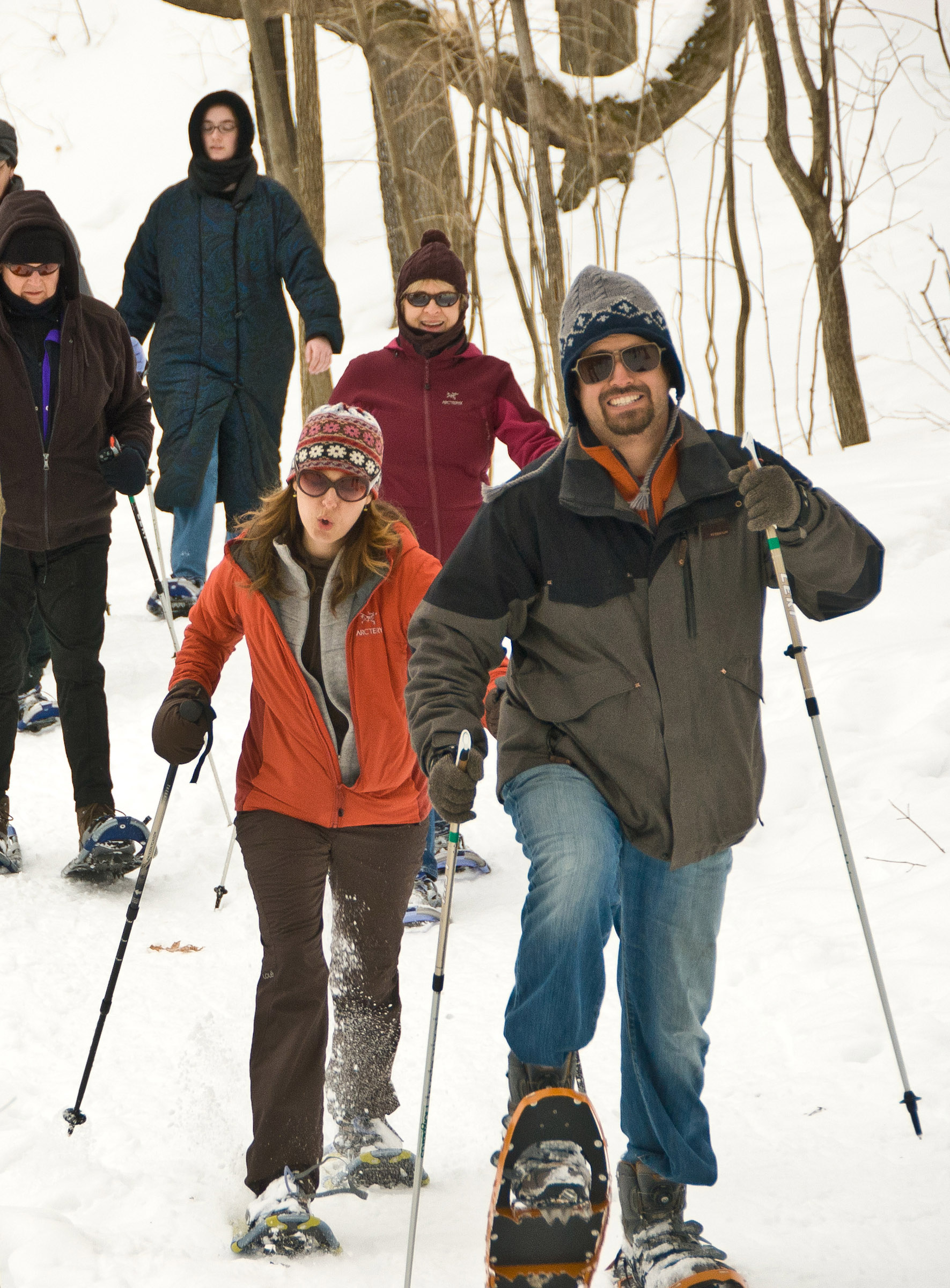 Snowshoeing at the Minnesota Landscape Arboretum.