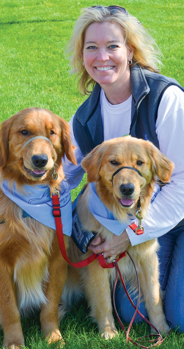Lynne Raymo training service dogs Bogey and Franny
