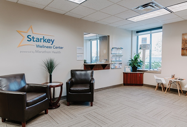 The waiting  room at the Starkey Wellness Center