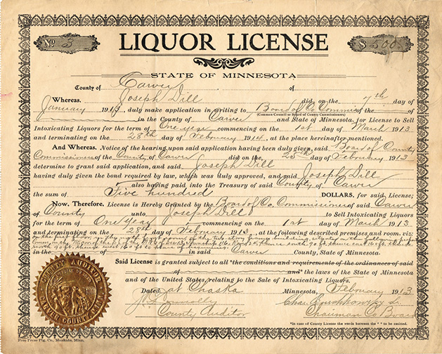 A liquor license issued in Carver County in 1913, one of many liquor licenses donated to the Carver County Historical Society by the city of Victoria.