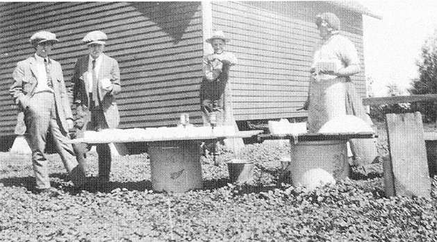A historical photo shows a group of women making lye soap in Carver County.
