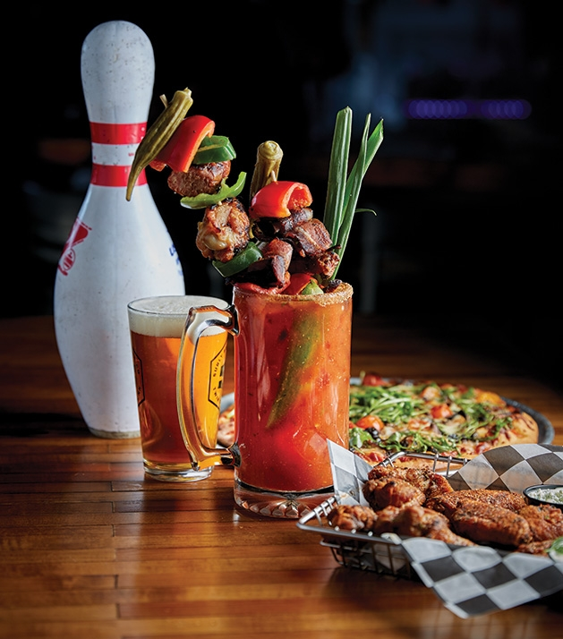 A bloody mary from the Garage Bar & Bowl.