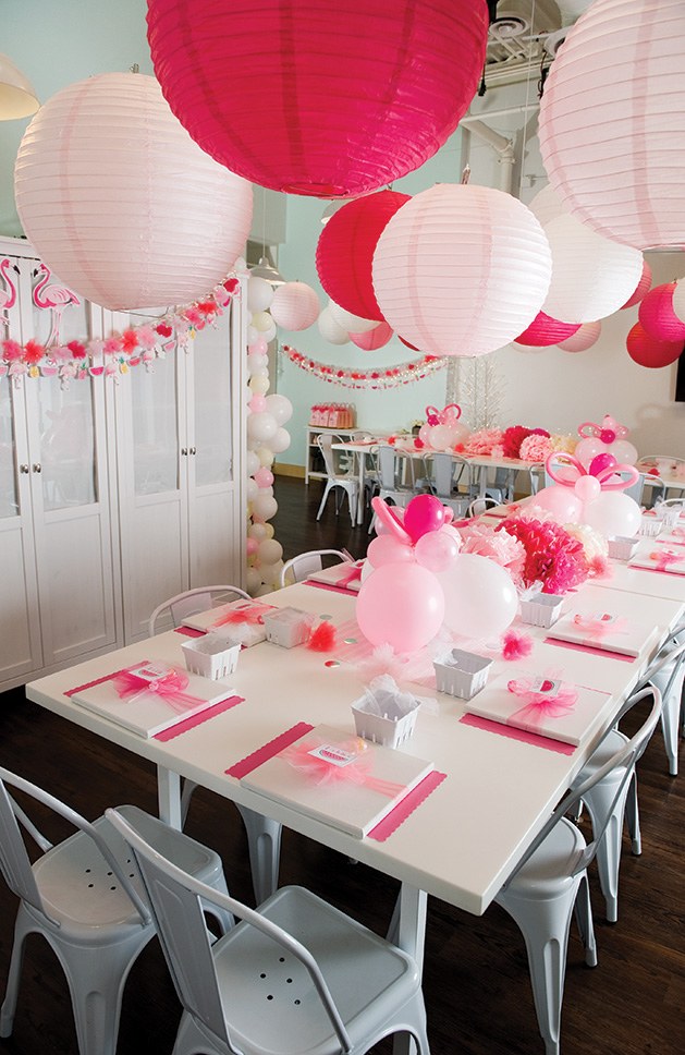 A birthday party with a pink flamingo theme.
