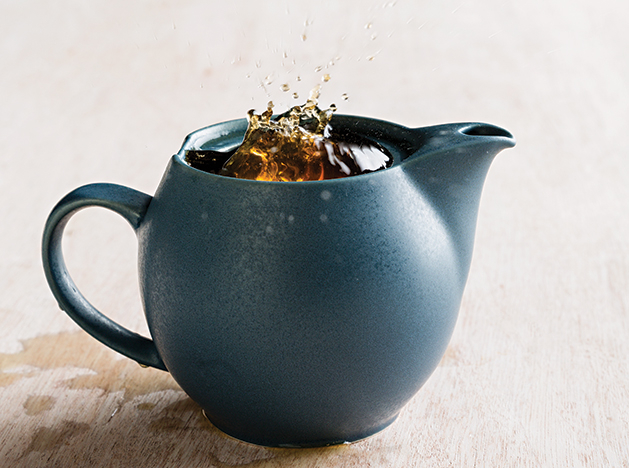 A blue pot of tea.