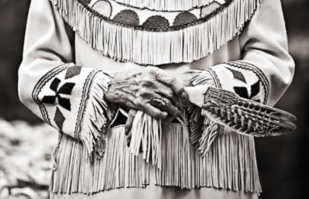 Chaska photographer ashley berg focuses on the details of a native american wedding gown
