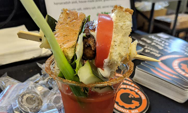 The Garage Bar & Bowl's BLT bloody Mary, which won best traditional bloody Mary, best garnish and second place in the people's choice at the Twin Cities Bloody Mary Festival
