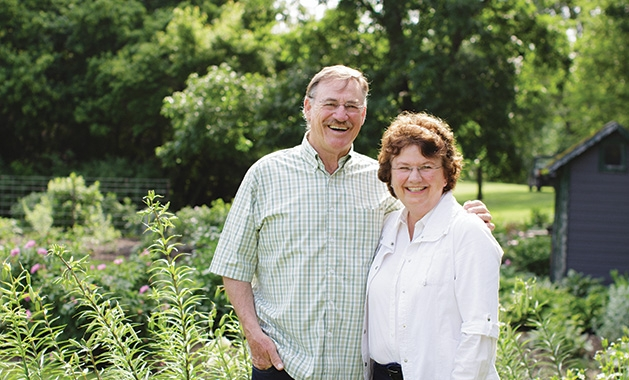 """""""Beyond Rosemary, Basil and Thyme"""" author Theresa Mieseler and her husband. The two operate Shady Acres Herb Farm together."""