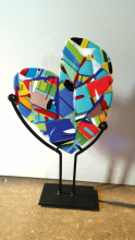 A painted mosaic heart from the Arts Consortium of Carver County.