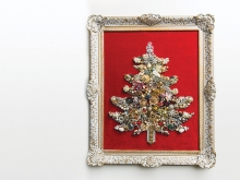A costume jewelry Christmas tree created by Kate Loves Vintage