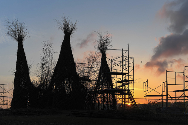 Three of the five completed towers of YouBetcha at the Minnesota Landscape Arboretum