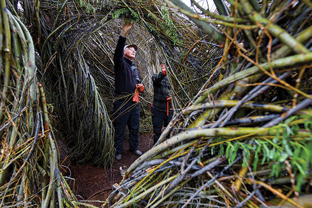 Patrick Dougherty and his son, Sam, stand inside of YouBetcha at the Minnesota Landscape Arboretum