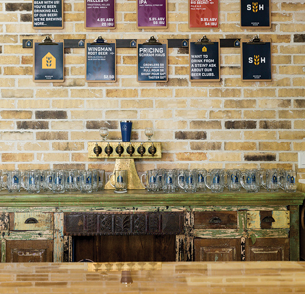 The menu on the wall of Schram Haus Brewery, a new taproom in Chaska.