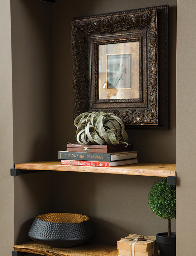 Live edge bookshelves in a remodeled Chanhassen home