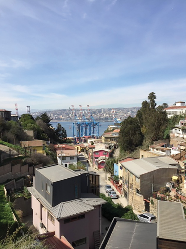 View from Playa Ancha onto a main port in Valparaiso, Chile.