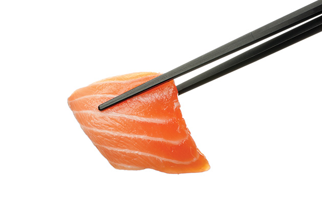 A pair of chopsticks holds a piece of fatty fish.